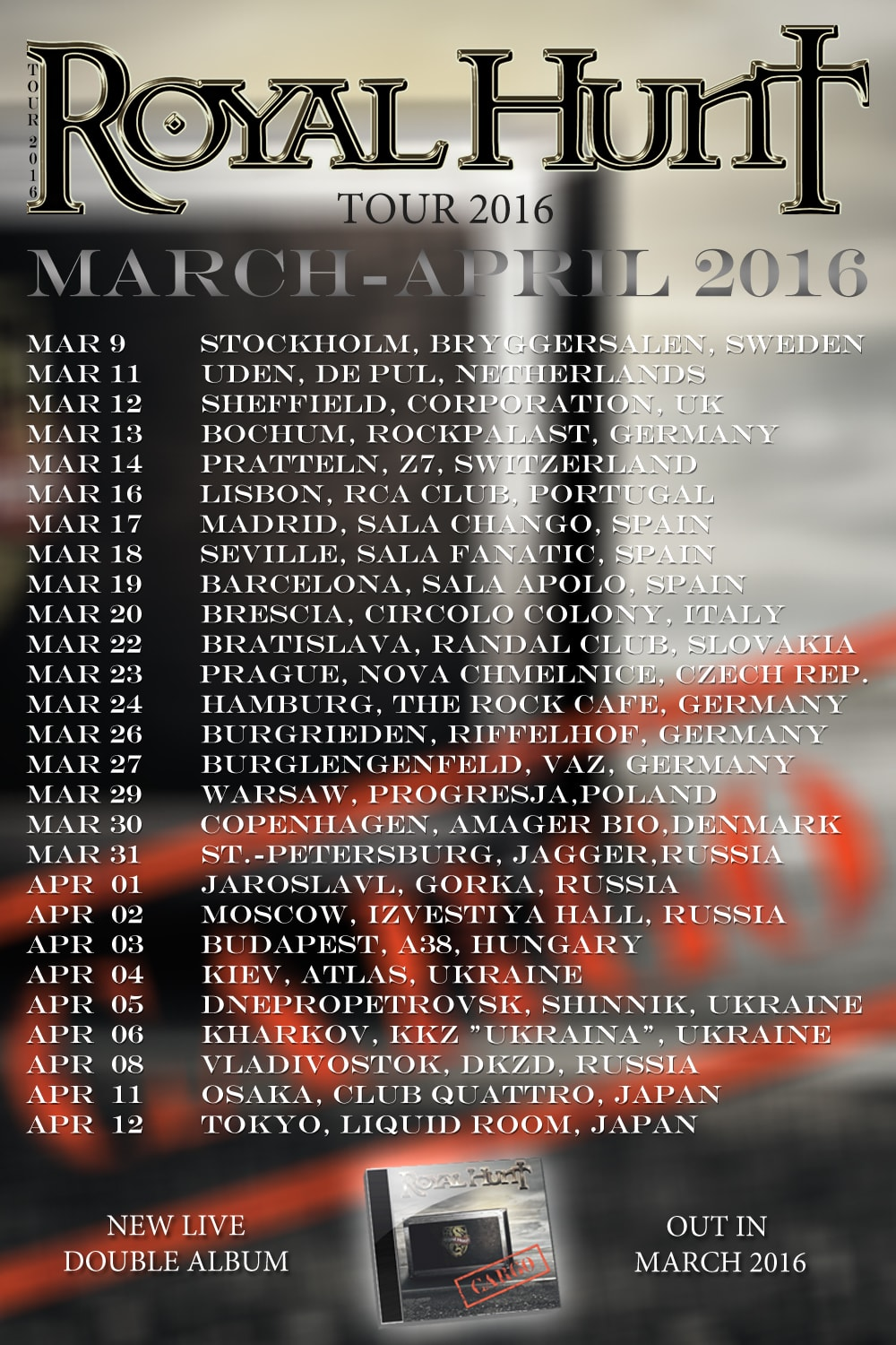 Royal Hunt Tour 2016 Dates